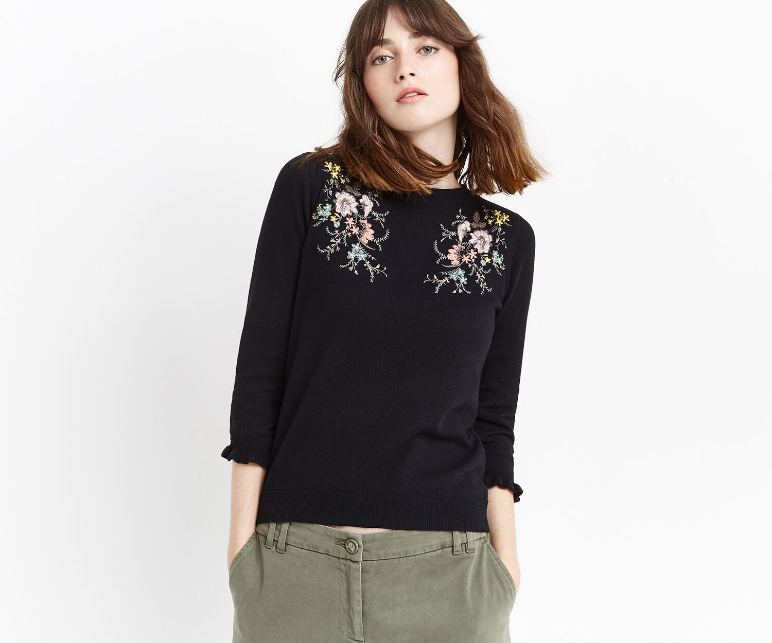 Oasis, Shipwrecked embroidered knit Black 1