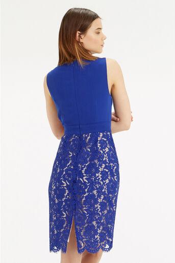 Oasis, Cowl Neck Lace Pencil Dress Rich Blue 3