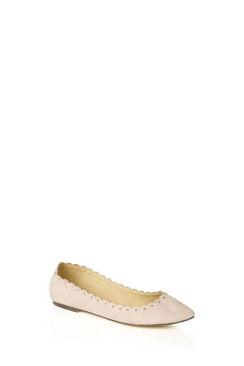 Oasis, KATE SCALLOPED FLATS Mid Neutral 0