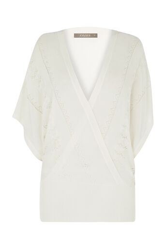 Oasis, Pointelle Summer Wrap Top Off White 0