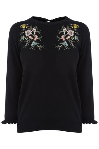 Oasis, Shipwrecked embroidered knit Black 0