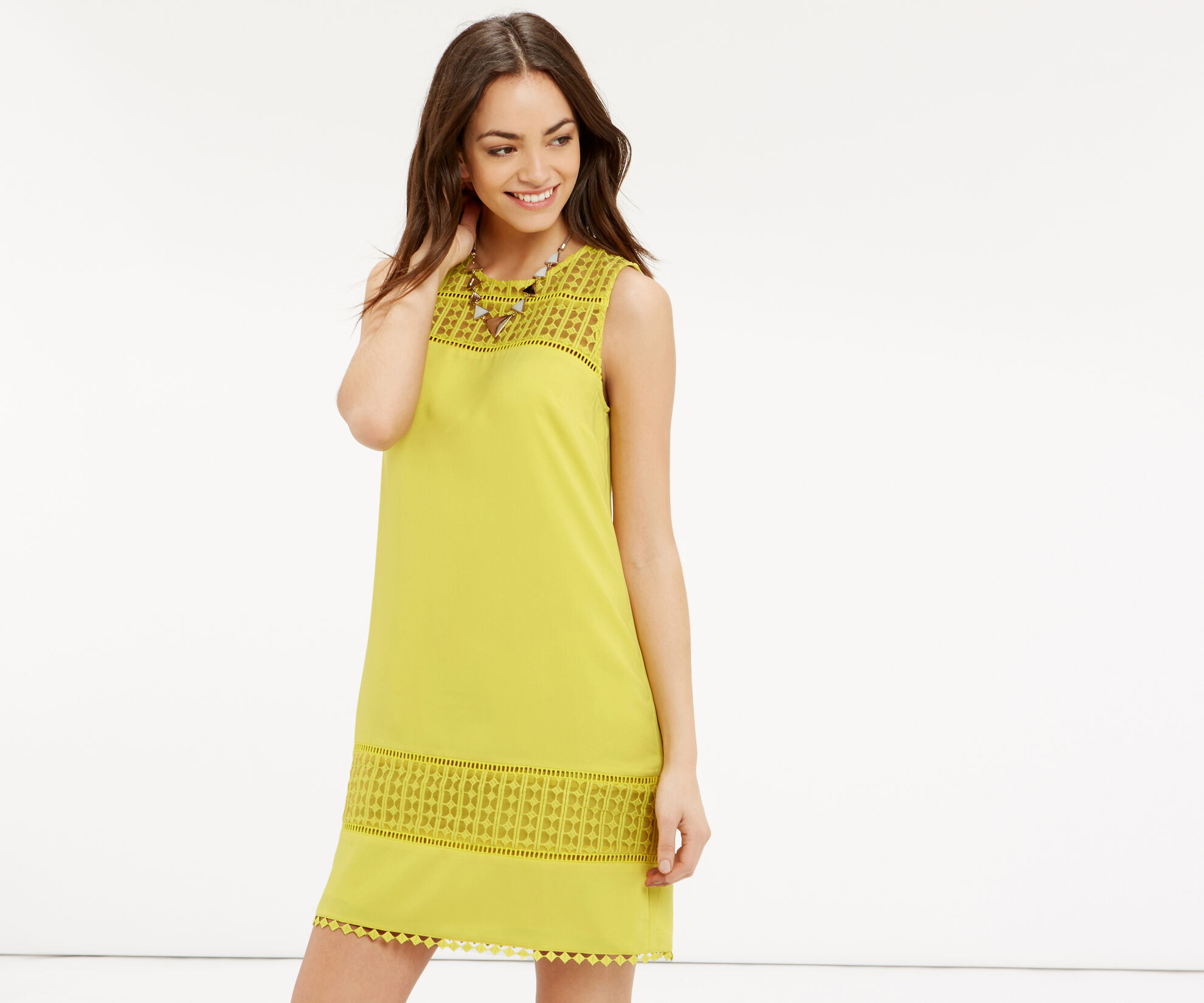 Oasis, Lace Detail Dress Bright Yellow 1