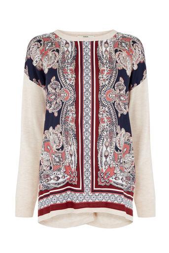 Oasis, Dakota Print Sweater Multi Natural 0