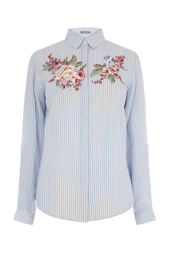 Oasis, CHINTZ EMBROIDERED SHIRT Multi Blue 0