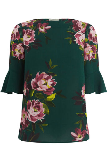 Oasis, PAINTED ROSE FLUTED SLEEVE TOP Multi Green 0