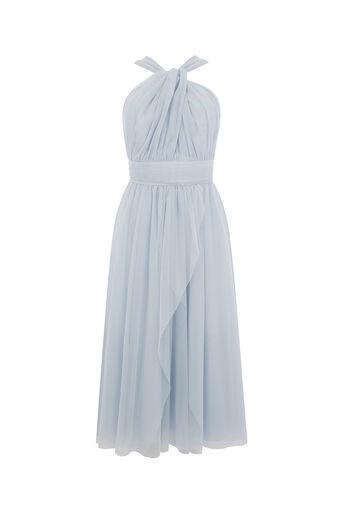 Oasis, TULLE FULL MIDI DRESS Light Blue 0
