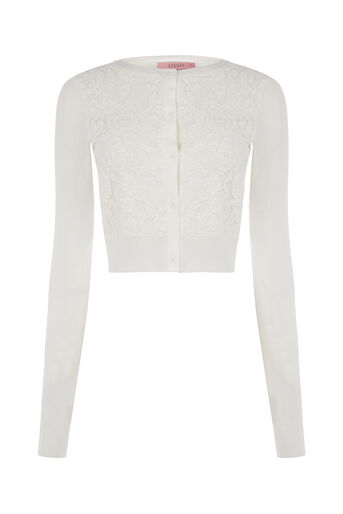 Oasis, Lace front cardi Off White 0