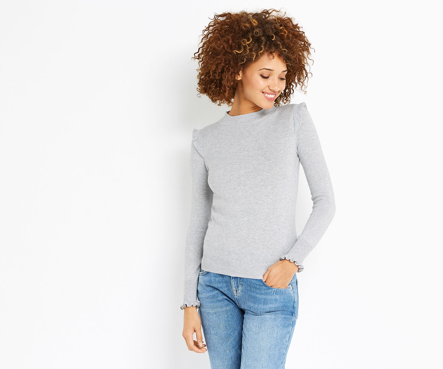 Oasis, TURTLE NECK FRILL KNIT Mid Grey 1