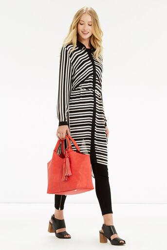 Oasis, Stripe Longline Shirt Multi Black 2
