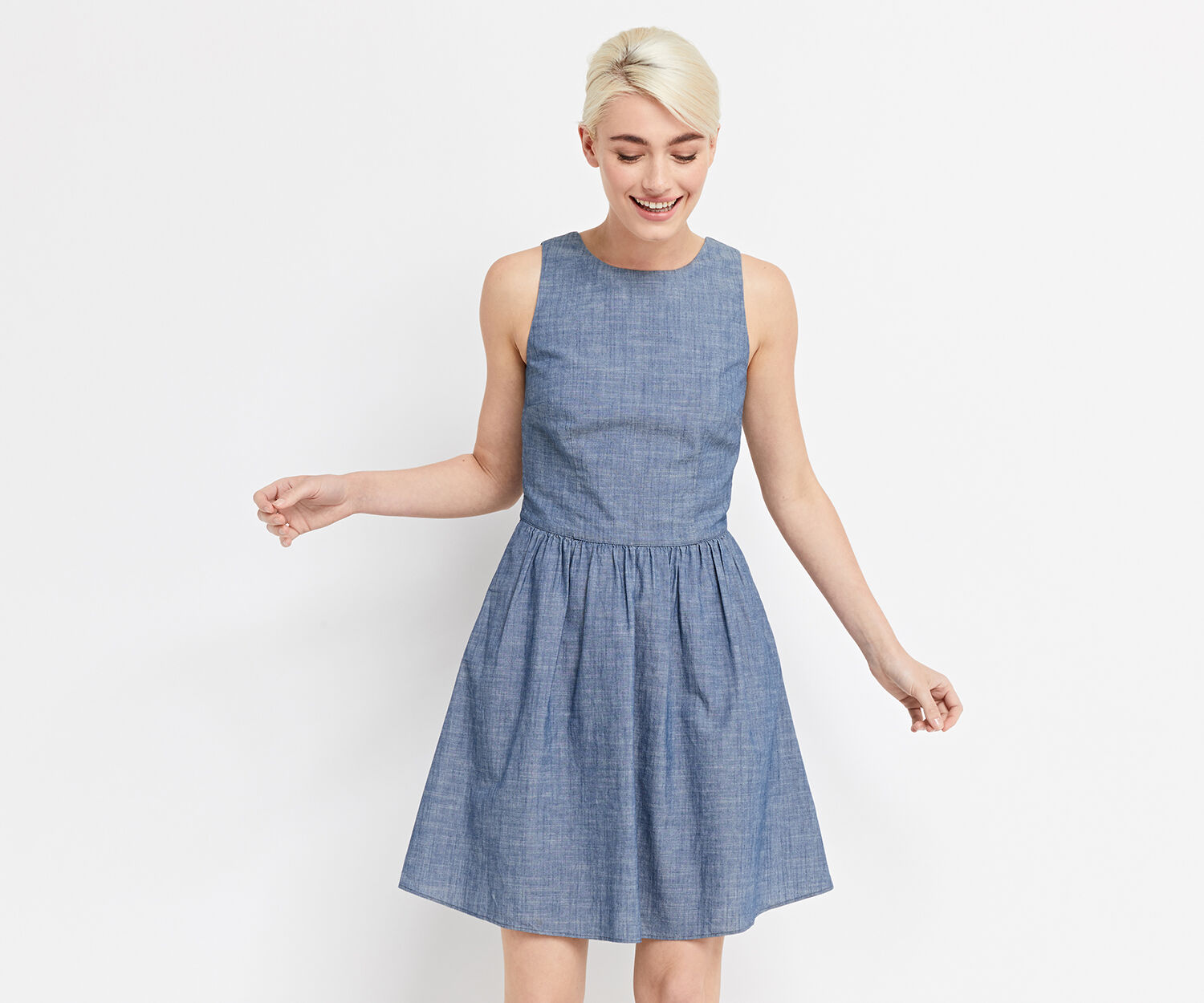 Oasis, CHAMBRAY TIE BACK SUN DRESS Denim 1