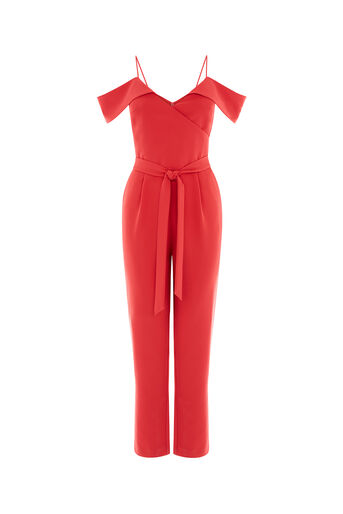 Oasis, BARDOT COLD SHOULDER JUMPSUIT Mid Red 0