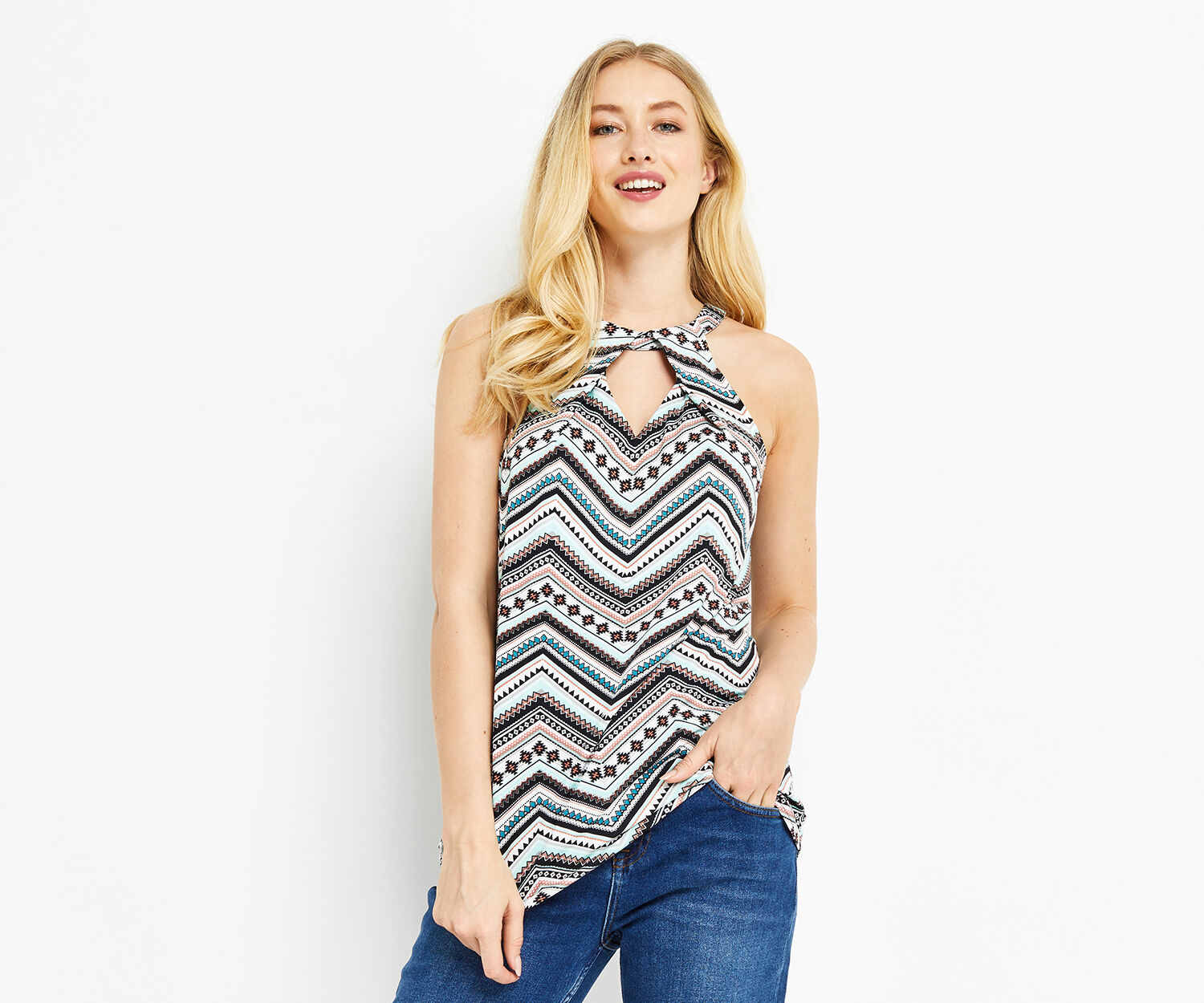 Oasis, PRINTED HALTER TOP Multi 1