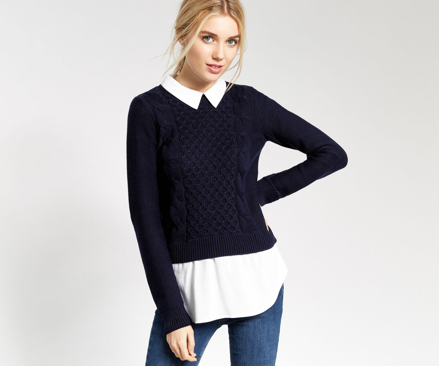 Oasis, SHIRT TAIL SWEATER Navy 1