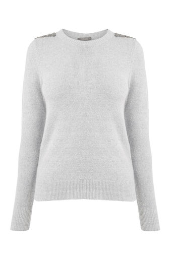 Oasis, Embellished perfect crew Mid Grey 0
