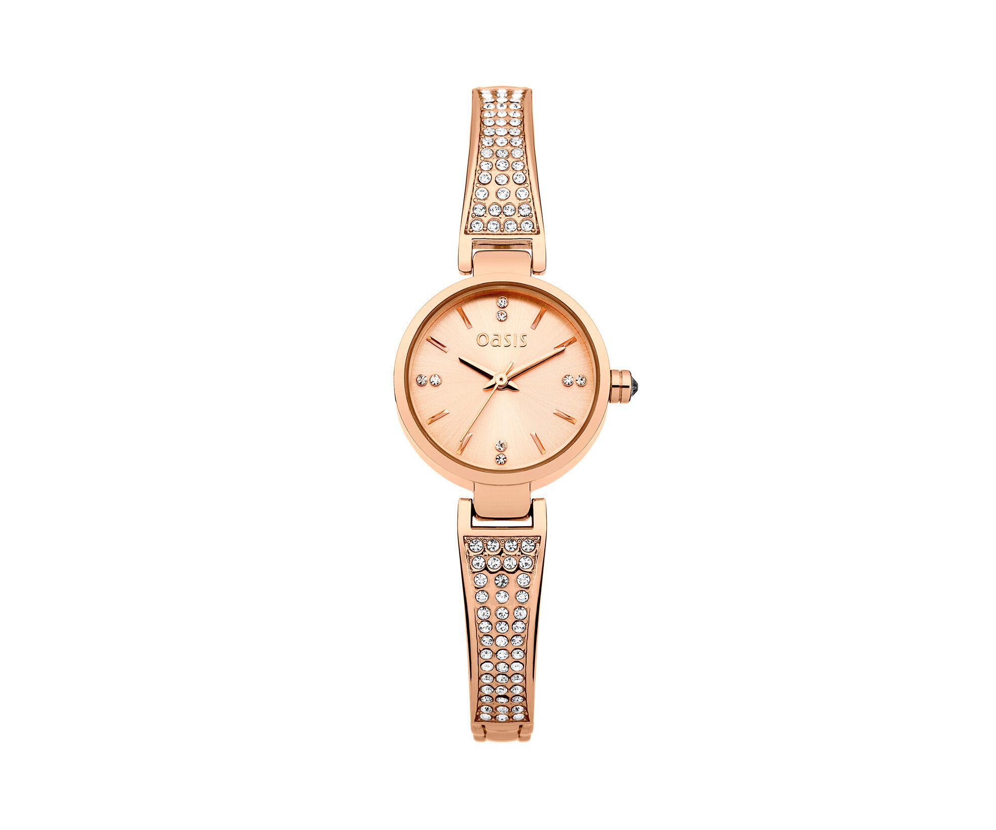 Oasis, Rose Gold Half Bangle Watch Antique Gold 0