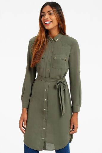 Oasis, STUDDED UTILITY SHIRT DRESS Khaki 0