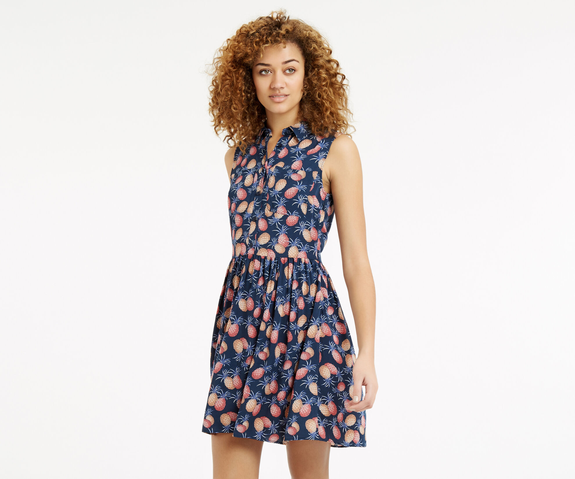 Oasis, Pineapple Shirt Dress Multi 1