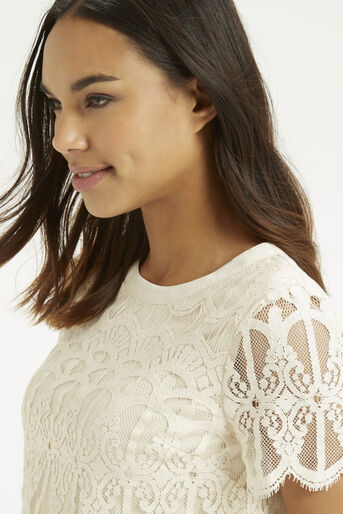 Oasis, Deco Lace Top Off White 4
