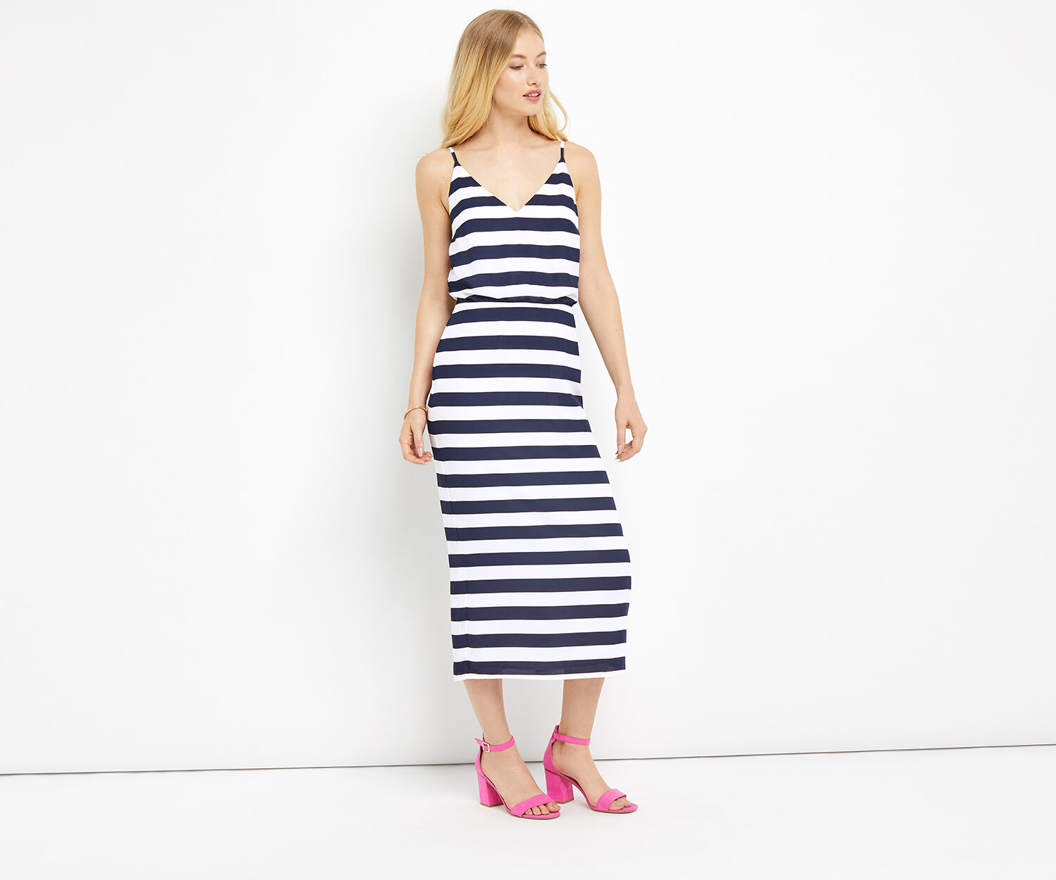 Oasis, STRIPE TIE BACK MIDI DRESS Multi 1