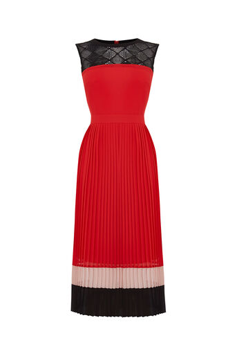 Oasis, Colour Block Pleat Dress Multi 0