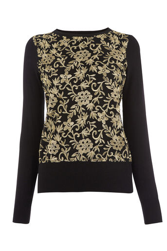 Oasis, Warner Embroidered Sweater Black 0