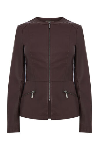 Oasis, FAUX LEATHER COLLARLESS JACKET Burgundy 0