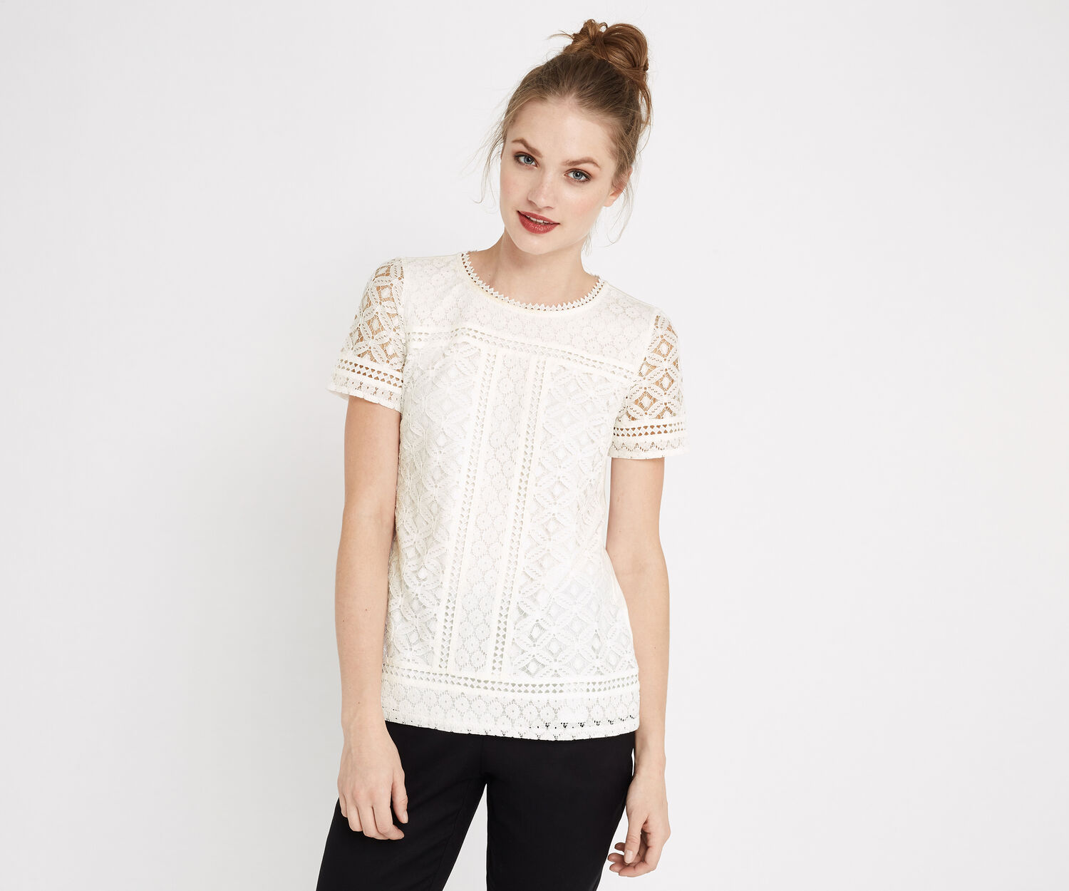 Oasis, ISLA LACE TEE Off White 1