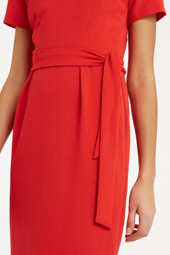 Oasis, Wiggle Belted Dress Mid Red 4