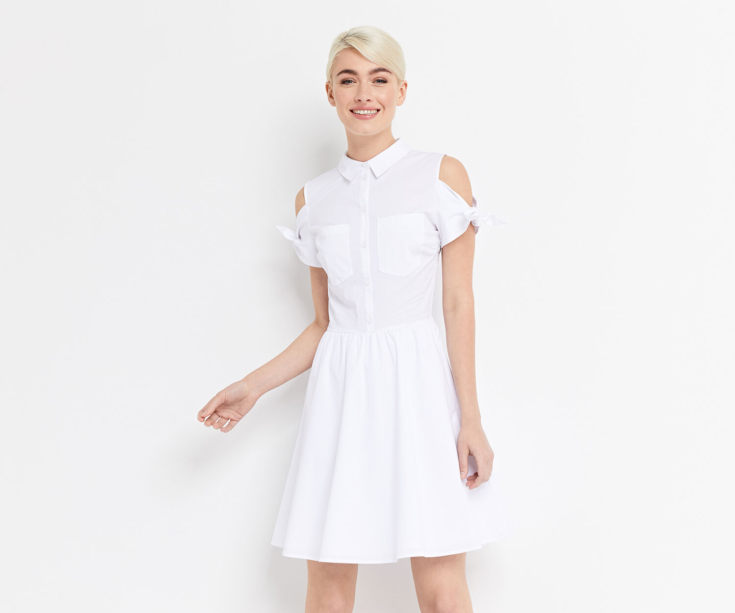 Oasis, COTTON TIE SHOULDER SHIRTDRESS White 1