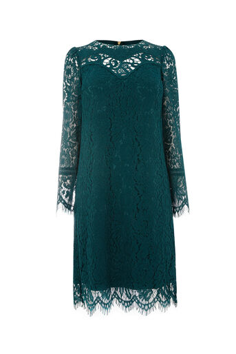 Oasis, LONG TRIMMED LACE SHIFT Turquoise 0