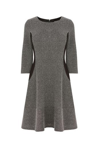 Oasis, TWEED FLIPPY SKATER DRESS Mid Grey 0