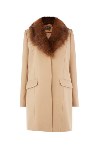 Oasis, FRAN SHAWL FUR COLLAR COAT Camel 0