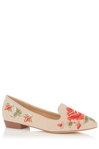 Oasis, EMBROIDERED SLIPPER Mid Neutral 0