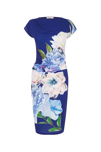 Oasis, WILD PEONY DRAPED DRESS Navy 0