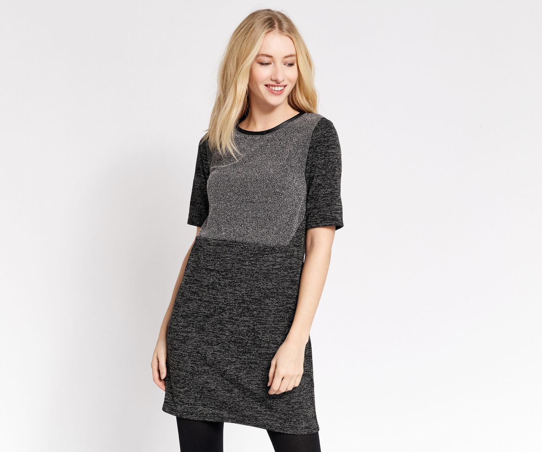Oasis, TWEED SHIFT DRESS Mid Grey 1