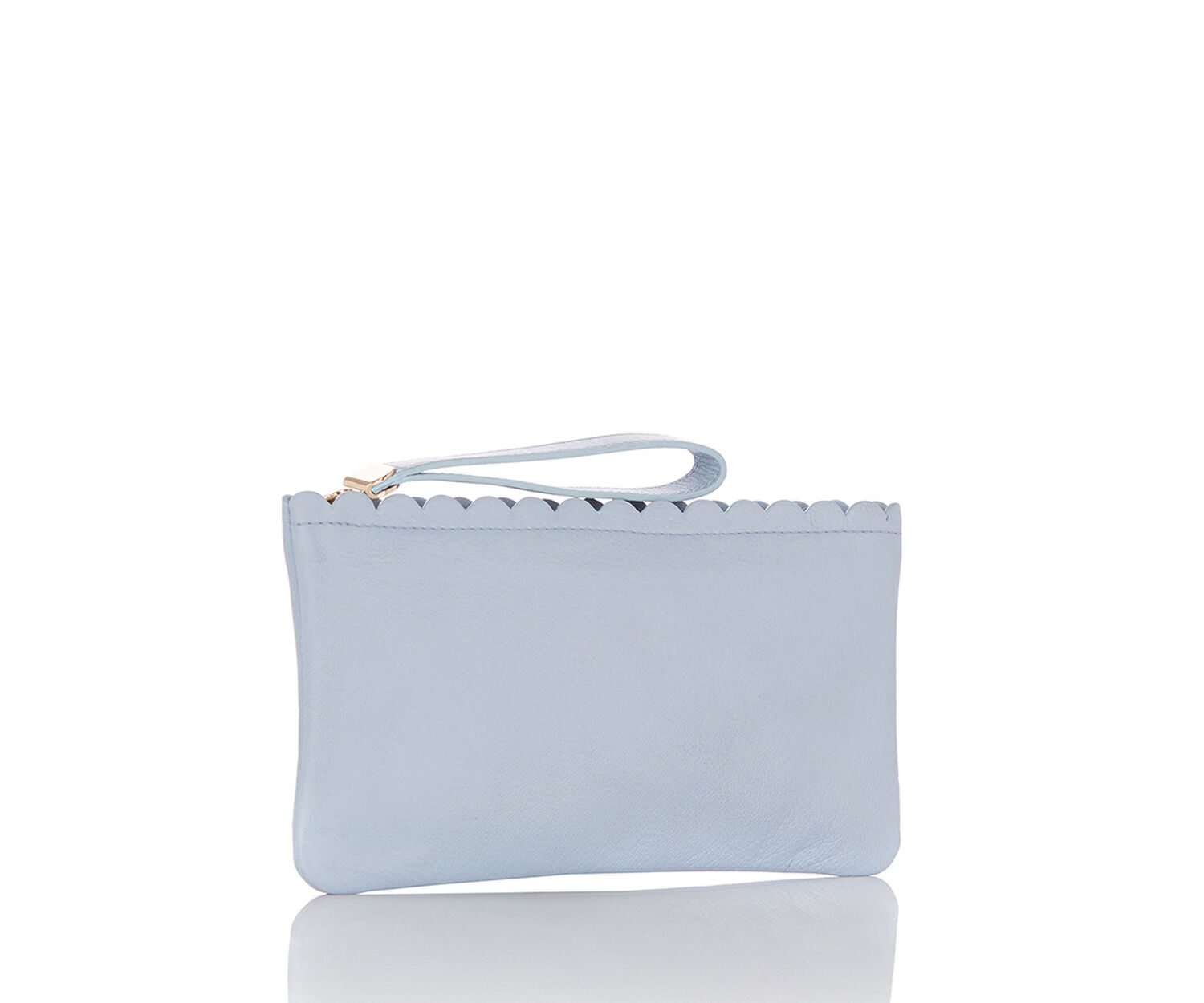 Oasis, LEATHER SCALLOP PURSE Pale Grey 1