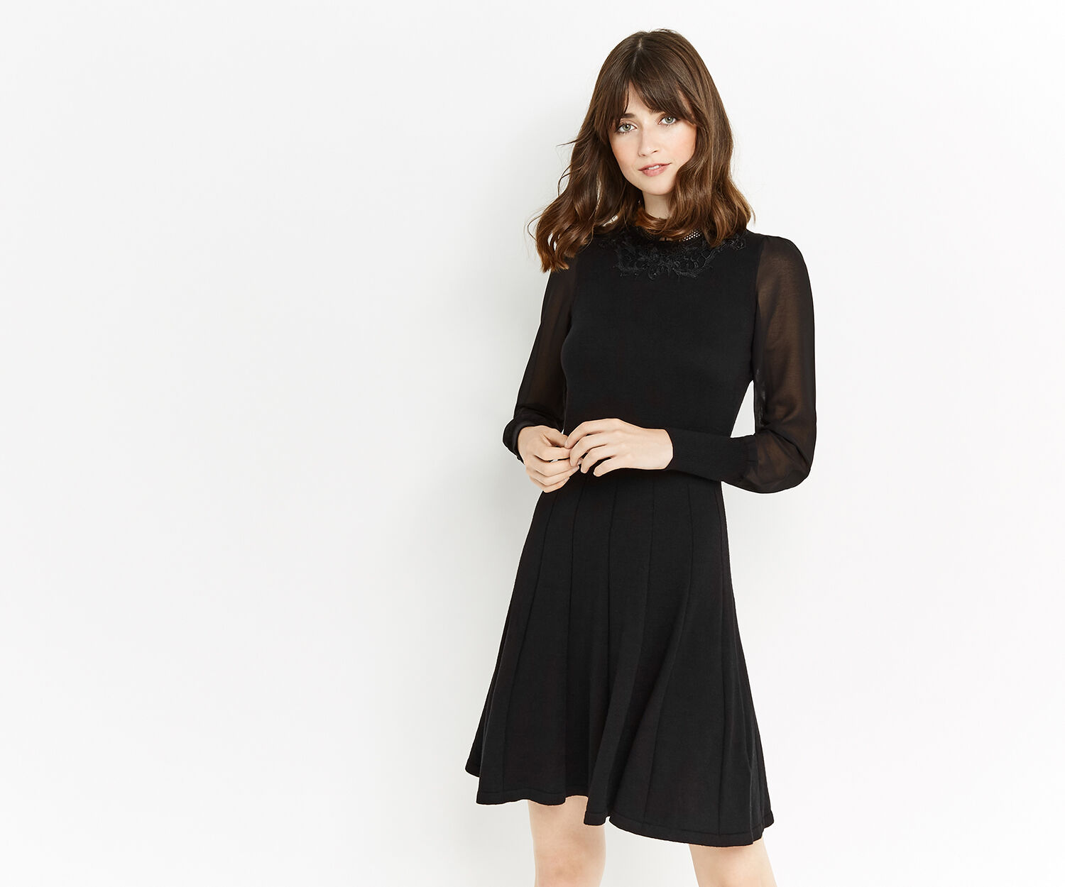 Oasis, LACE AND SHEER KNIT DRESS Black 1