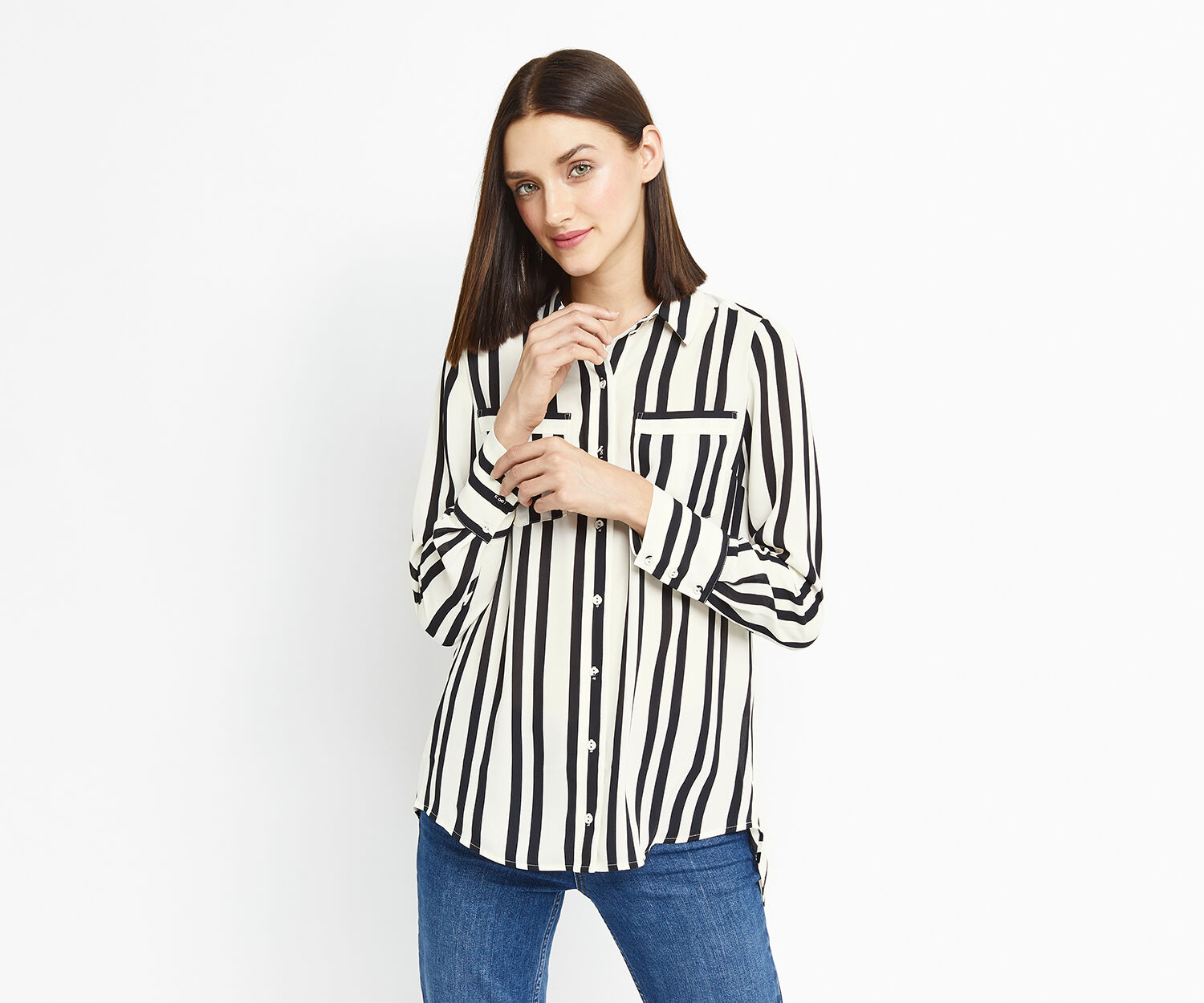 Oasis, LINCOLN STRIPE SHIRT Black and White 1