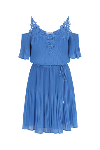 Oasis, COLD SHOULDER PLEAT DRESS Light Blue 0