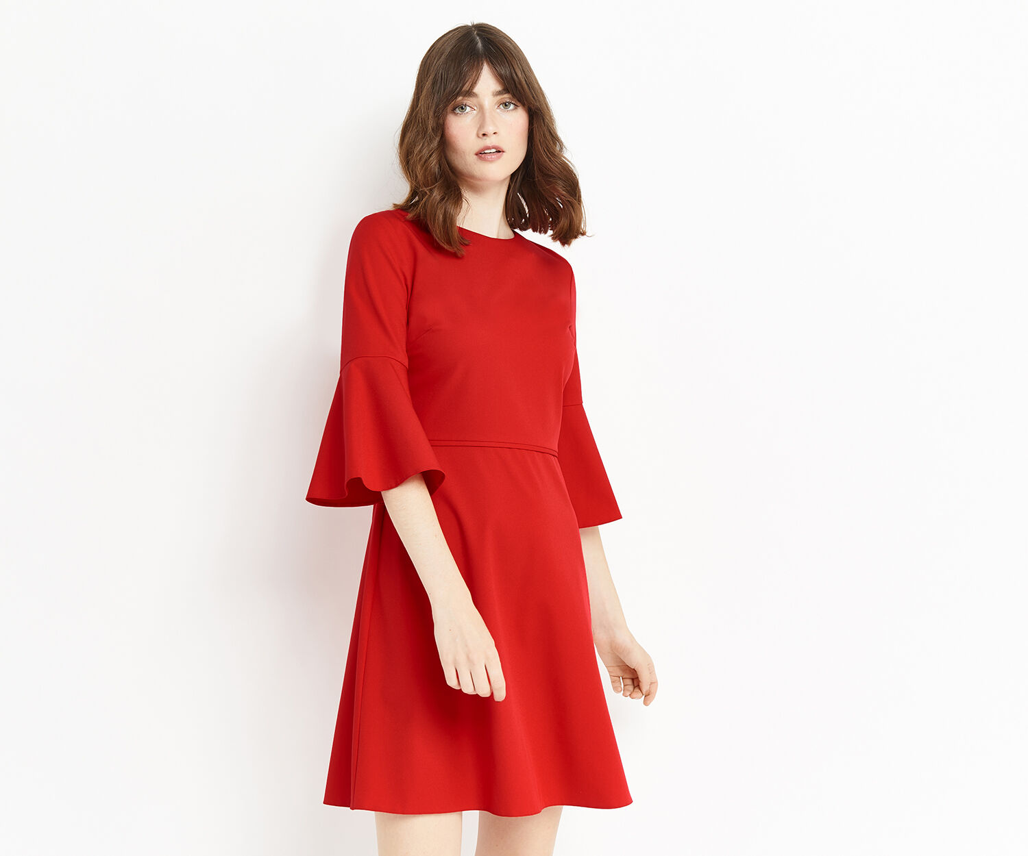 Oasis, FLUTE SLEEVE DRESS Rich Red 1