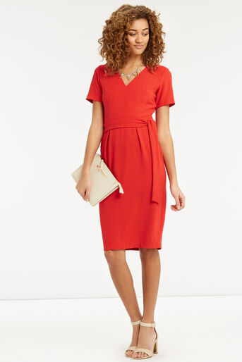 Oasis, Wiggle Belted Dress Mid Red 2