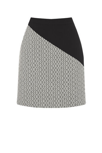 Oasis, BLOCK PARTY PRINTSKIRT Black and White 0