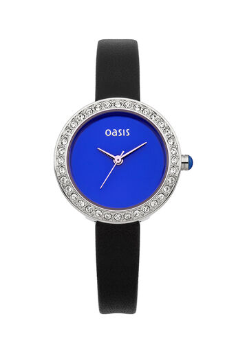 Oasis, Black Leather Strap Watch Black 0