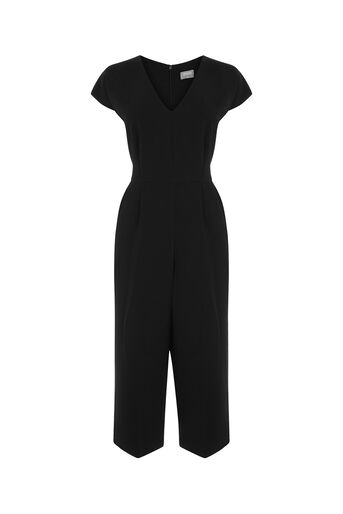 Oasis, V NECK WIDE LEG JUMPSUIT Black 0