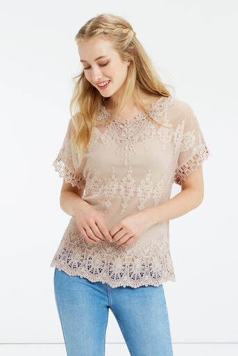 Oasis, Mesh Lace Top Off White 1