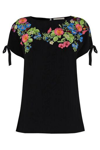 Oasis, Embroidered Floral Tie Side T- Black 0