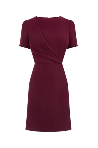 Oasis, DRAPE FRONT DRESS Burgundy 0