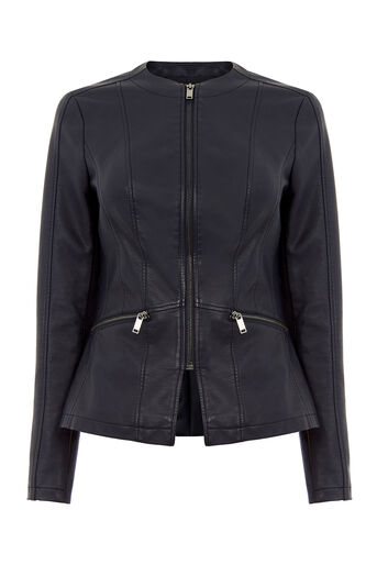Oasis, FAUX LEATHER COLLARLESS JACKET Navy 0