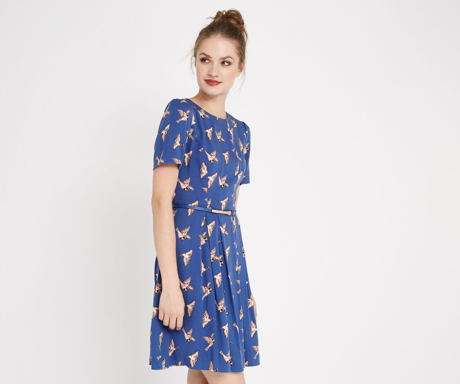 Oasis, COUNTRY BIRD SKATER DRESS Multi Blue 1