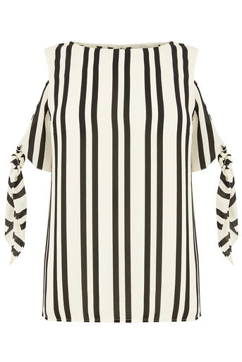 Oasis, LONG TIE SHOULDER STRIPE TOP Black and White 0